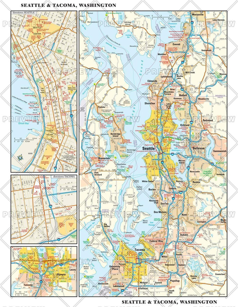 Seattle, Washington Wall Map