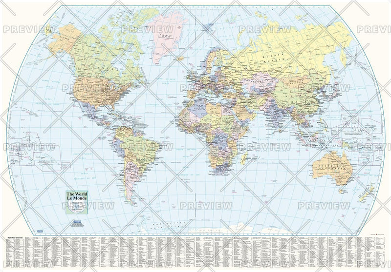 World Wall Map with Index - large