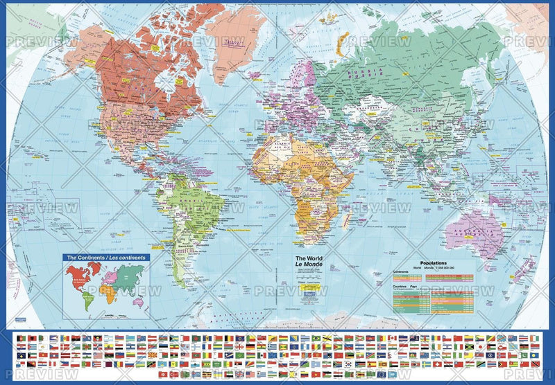World Wall Map with Flags - large