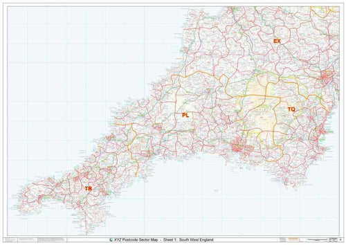 Cornwall & West Devon Postcode Map sheet