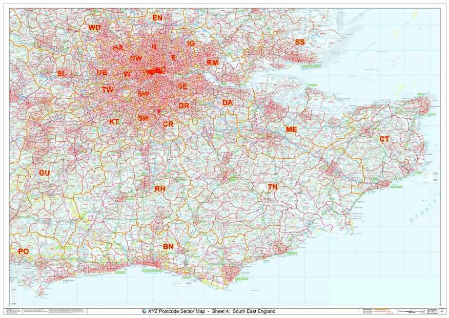 Map Of South England.South East England Postcode Sector Map S4