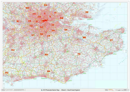 South East England Postcode Sector Map Sheet