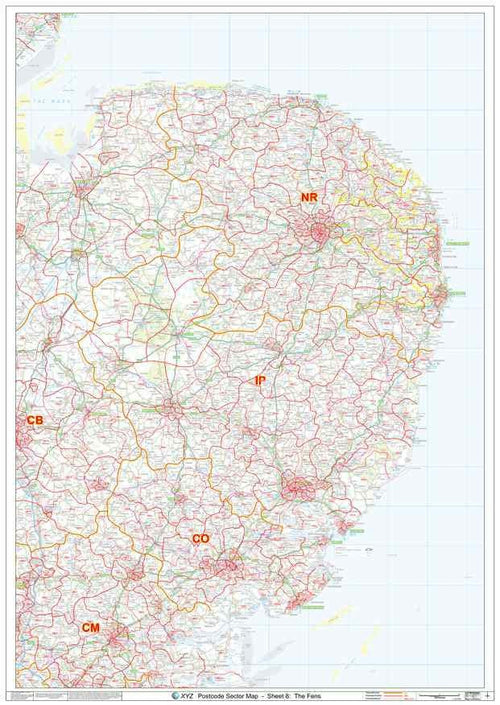 East Anglia Postcode Map PDF or GIF Download