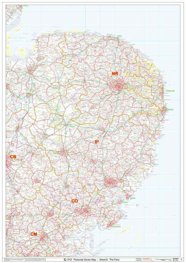 East Anglia Postcode Map sheet