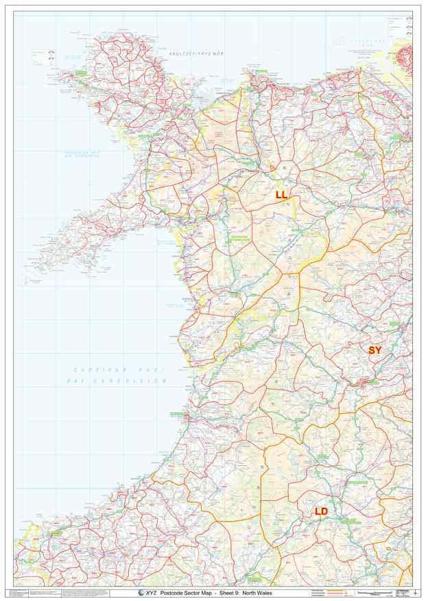 North Wales Postcode Map PDF or GIF Download
