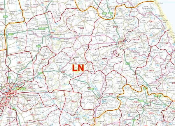 Lincolnshire Amp Derbyshire Laminated Postcode Sector Map S11