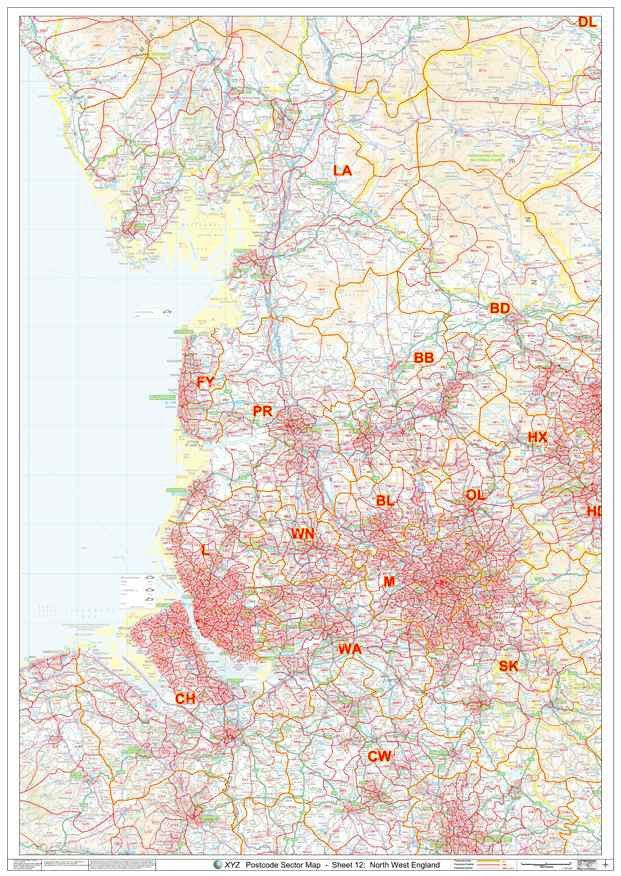 North West England Postcode Map PDF or GIF Download