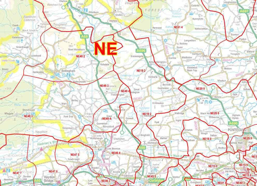 Map East Of England.North East England Postcode Sector Map S16