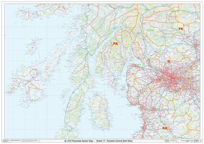 Central West Scotland Postcode Map PDF or GIF Download
