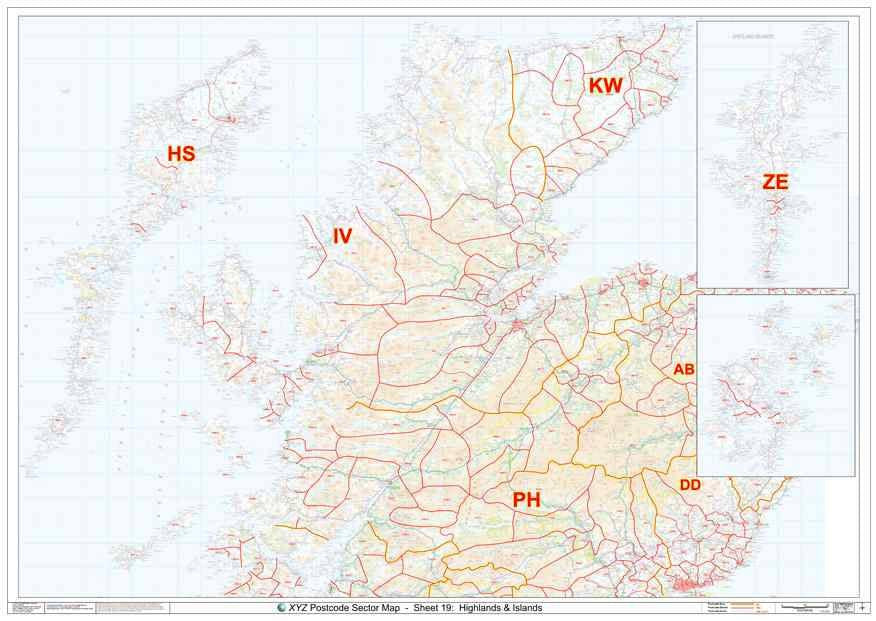 Scottish Highlands Postcode Sector Map S19 Map Logic
