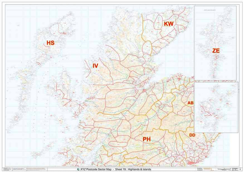 Scottish Highlands Postcode Map Sheet