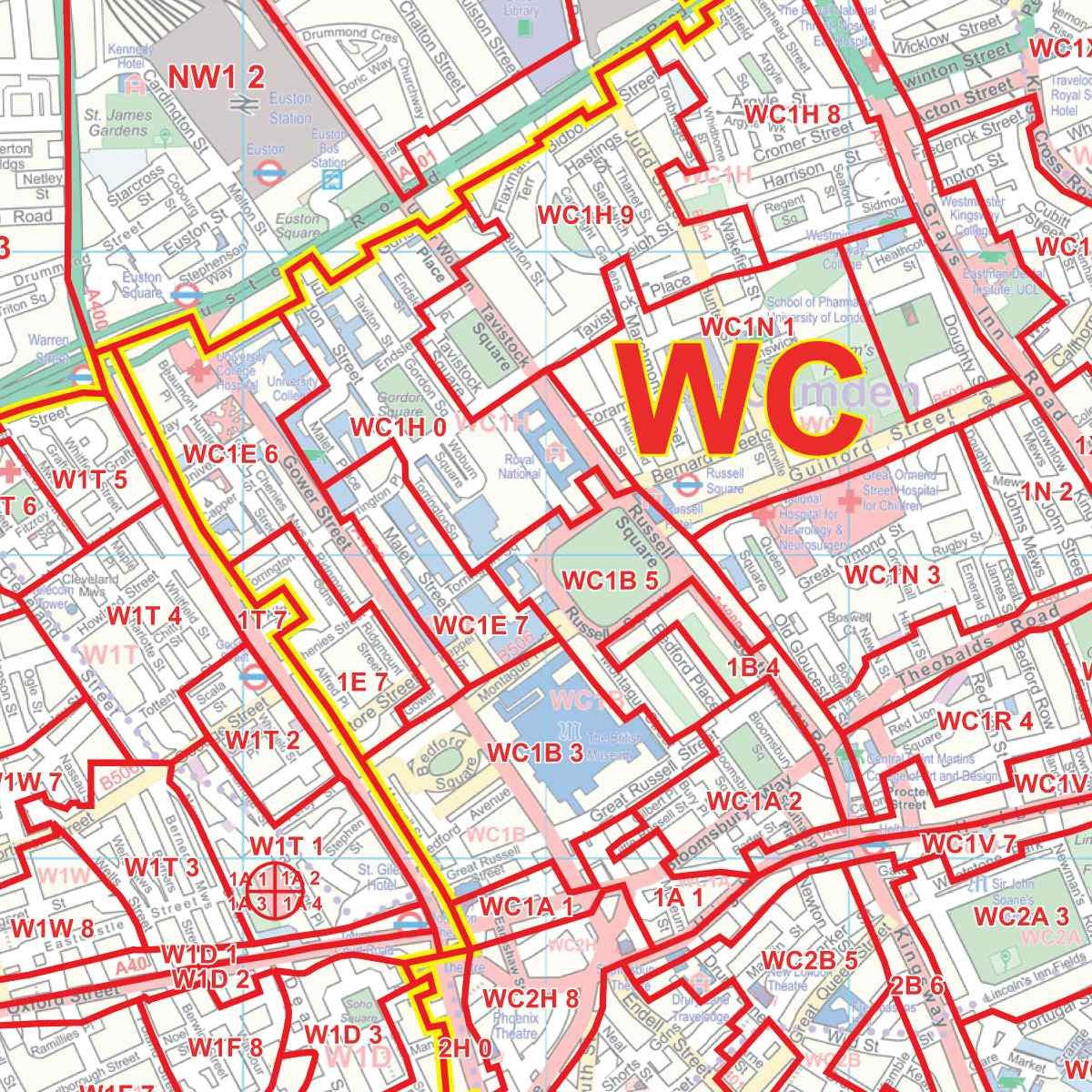 London Map Central.Central London Postcode Map C1