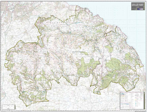North Yorkshire Moors National Park Wall Map (129 x 99cm)