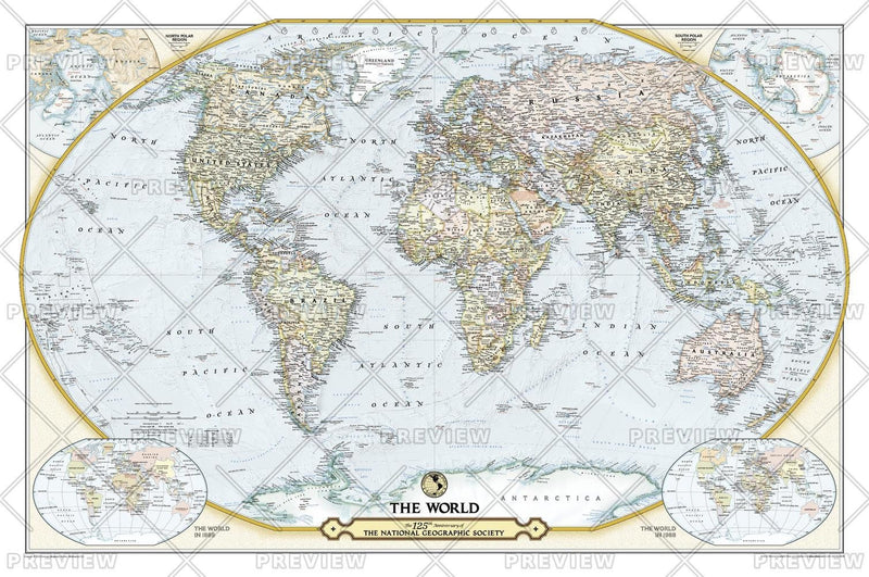 NGS 125th Anniversary World Map: 2 sided
