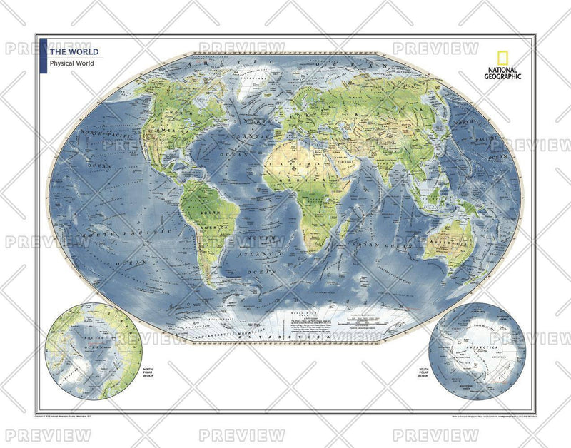 Physical World Map - Atlas of the World, 10th Edition