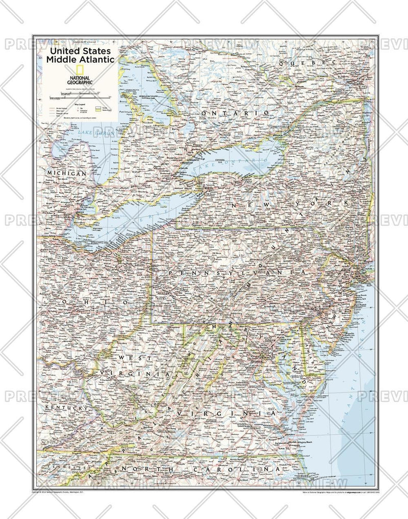 Middle Atlantic U.S. - Atlas of the World, 10th Edition