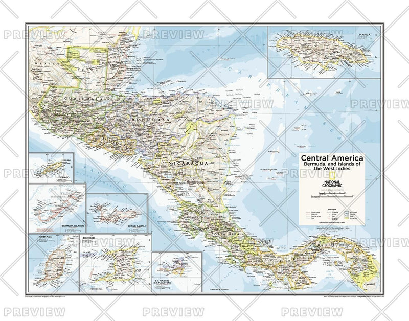 Central America, Bermuda, and Islands of the West Indies - Atlas of the World, 10th Edition