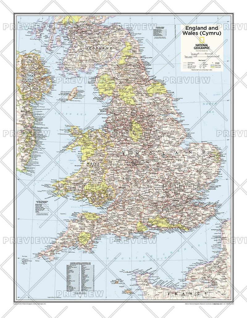 England and Wales (Cymru) - Atlas of the World, 10th Edition
