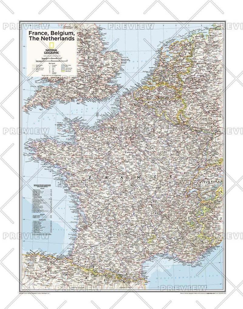 France, Belgium, the Netherlands - Atlas of the World, 10th Edition