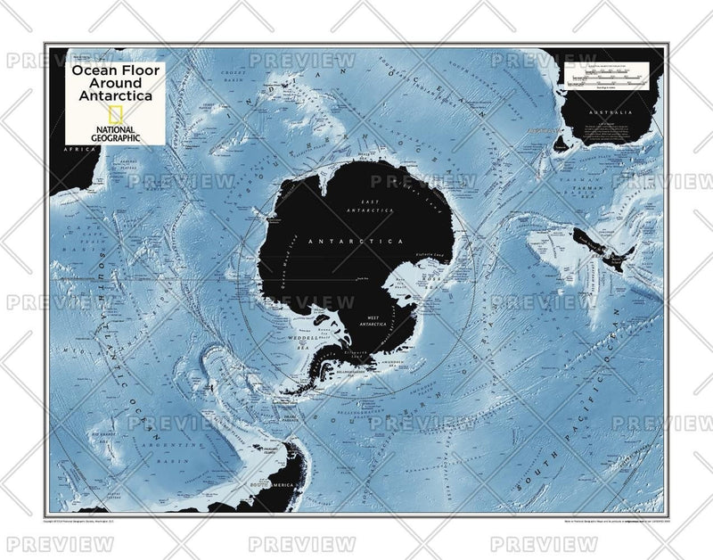 Ocean Floor around Antarctica - Atlas of the World, 10th Edition