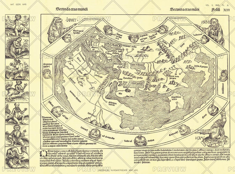 Chronicon Nurembergense 1493 Map - Published 1893