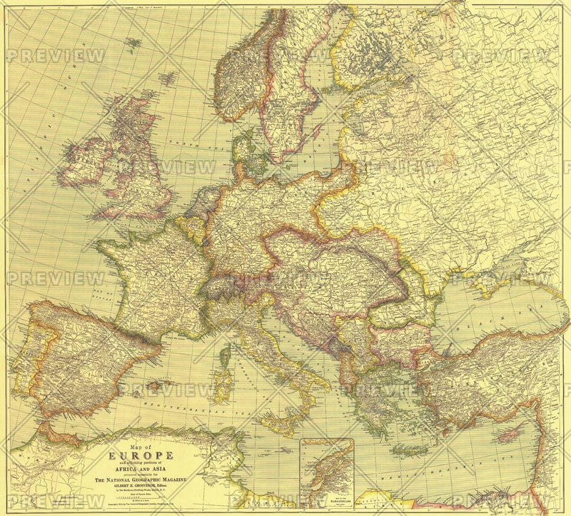 Europe Map with Africa and Asia - Published 1915