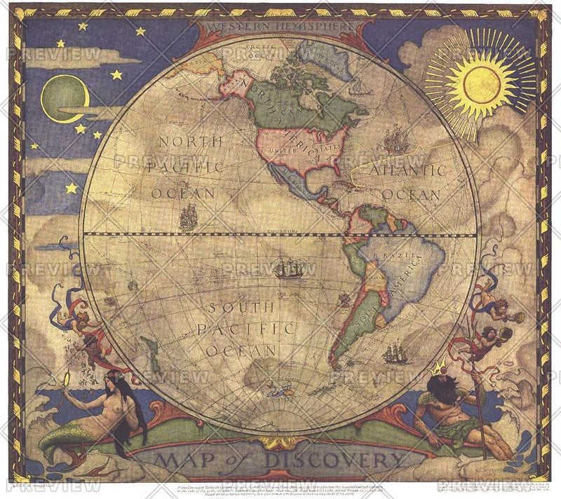 Map of Discovery, Western Hemisphere - Published 1928