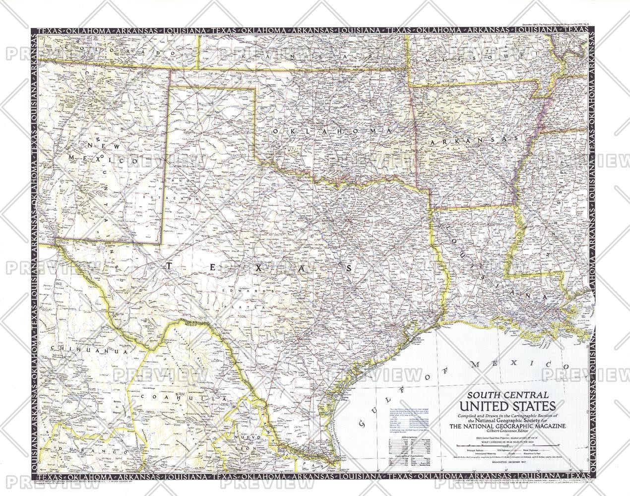 Map Of Texas And Louisiana Border.South Central United States Published 1947