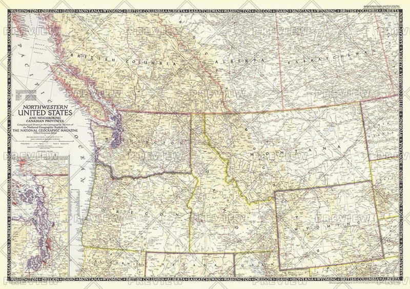 Northwestern United States and Canadian Provinces  -  Published 1950
