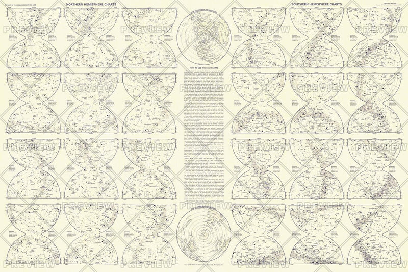 Heavens Star Chart - Published 1957