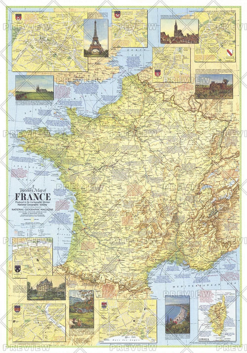 Travelers Map of France - Published 1971