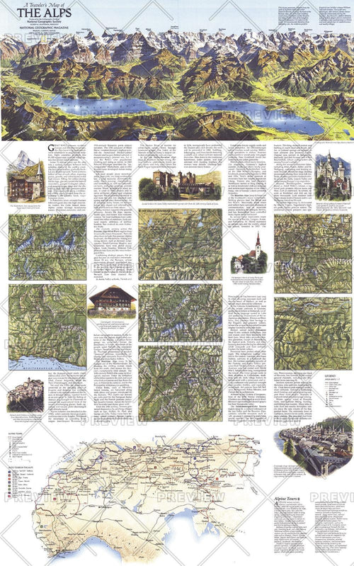 A Traveler's Map of the Alps - Published 1985