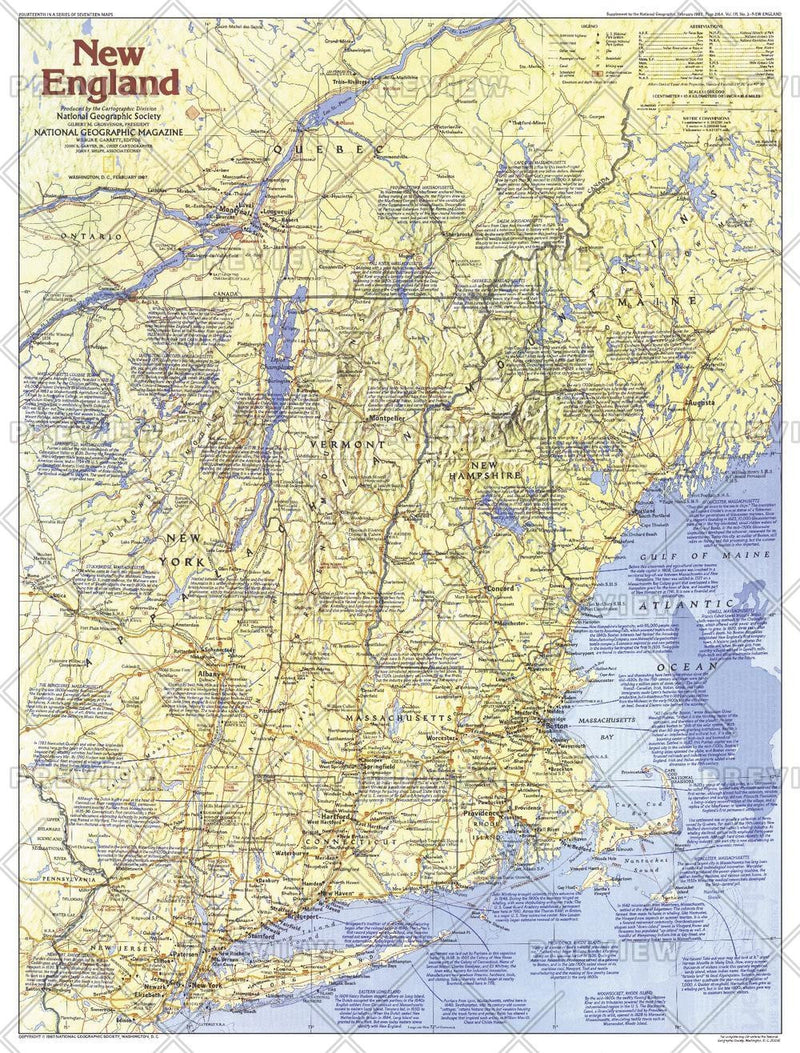 New England Map Side 1 - Published 1987