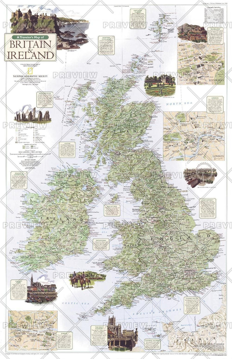 A Traveler's Map of Britain and Ireland - Published 2000