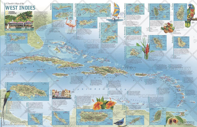 A Travelers' Map of the West Indies - Published 2003