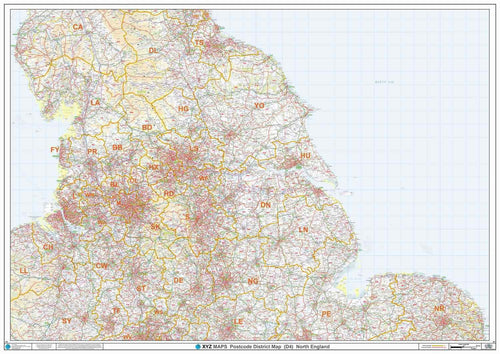 Northern England Postcode District Map - Full Sheet