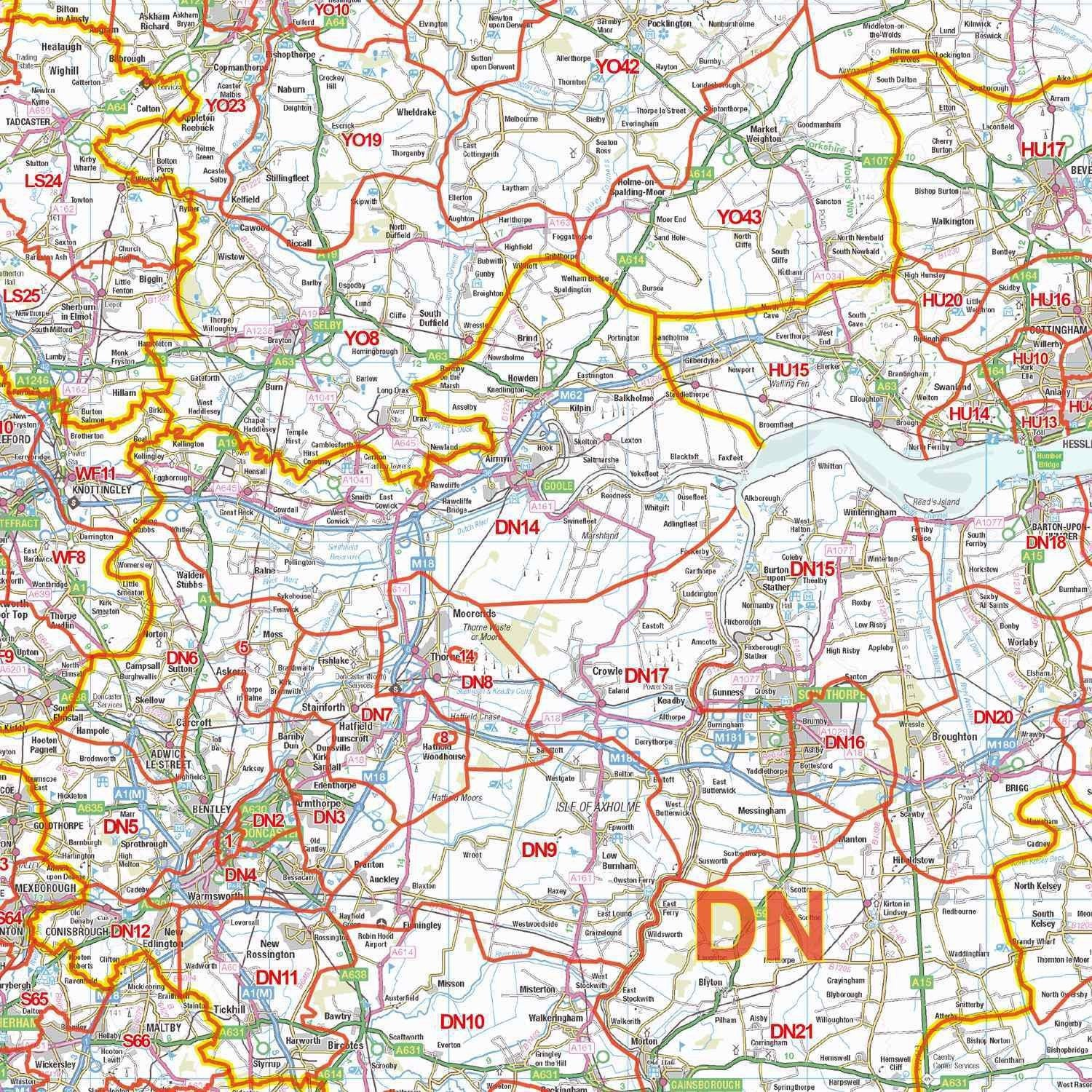 Map Of England In 1500.Northern England Postcode District Map Gif Or Pdf Download D4