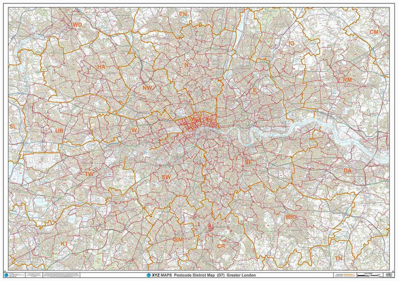 London Postcode District Map D7 - Full Sheet