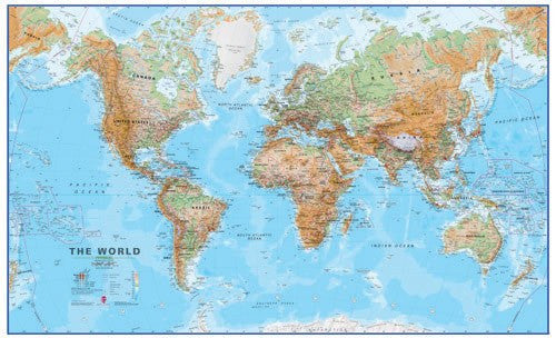 Huge World Wall Map (Physical)
