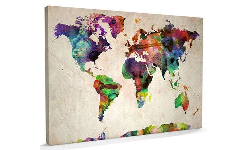 Urban Art World Map Canvas