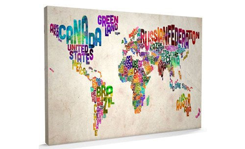 Text Art World Map Canvas