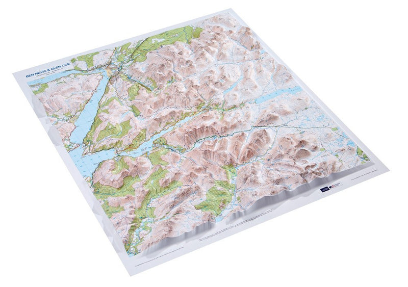 An angled view of the Ben Nevis 3D Relief Map