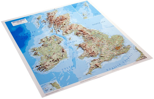 Angled view of the British Isles 3D Relief Map
