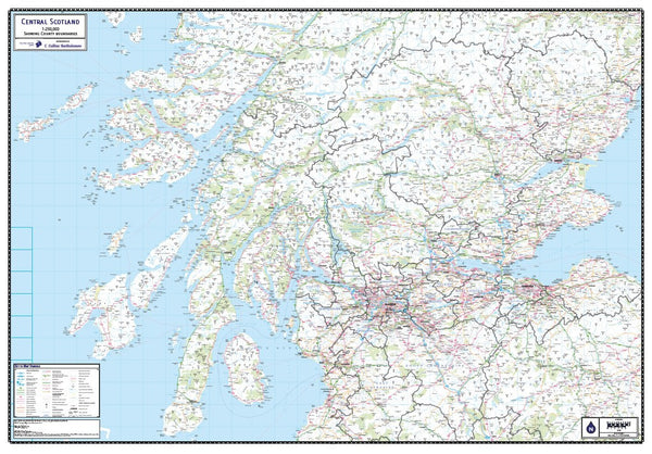 Central Scotland Laminated County Wall Map