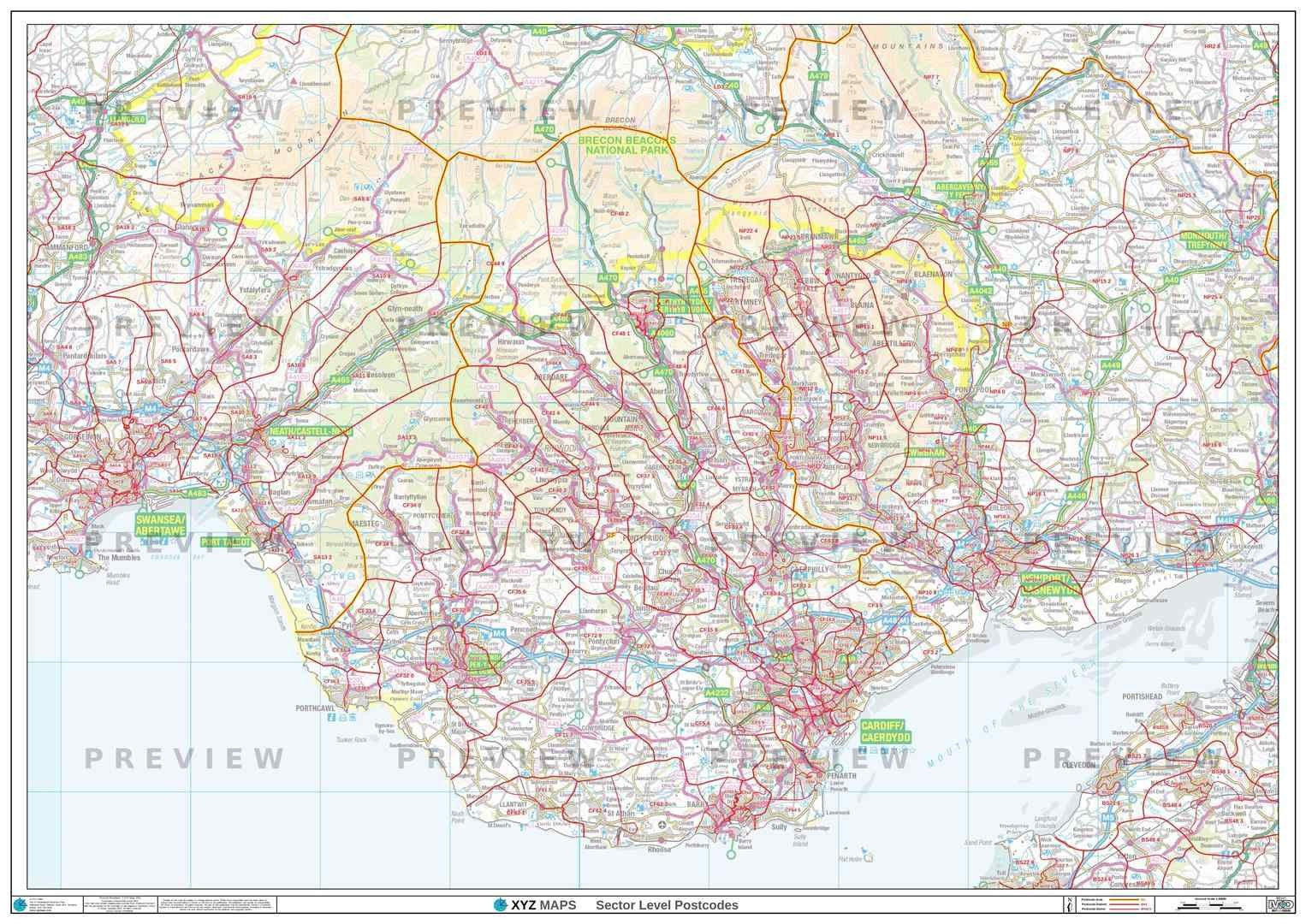 CF Postcode Map for the Cardiff Postcode Area GIF or PDF Download