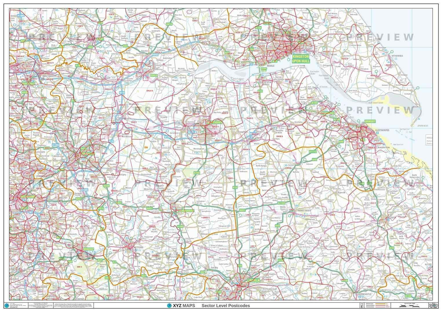 DN Postcode Map for the Doncaster Postcode Area GIF or PDF Download ...