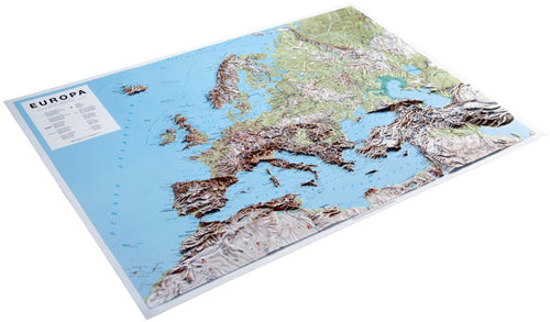 An angled view of the Europe 3D Relief Map