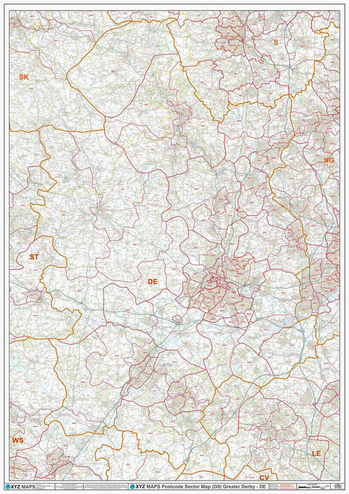 Greater Derby (DE) Area Postcode Sector Map (G9) PDF or GIF Download