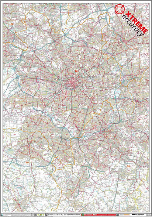 Manchester Area Postcode Map Sheet