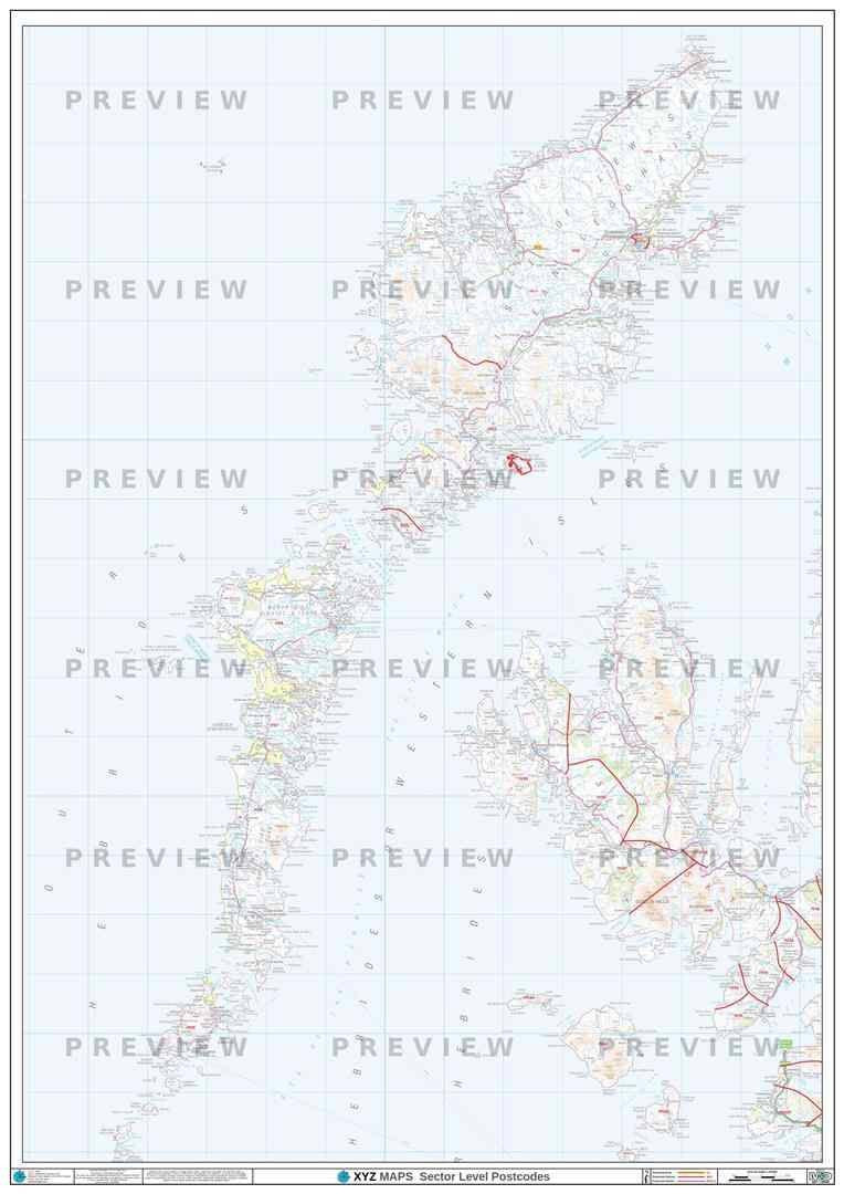 Western Isles Postcode Map - Full Sheet